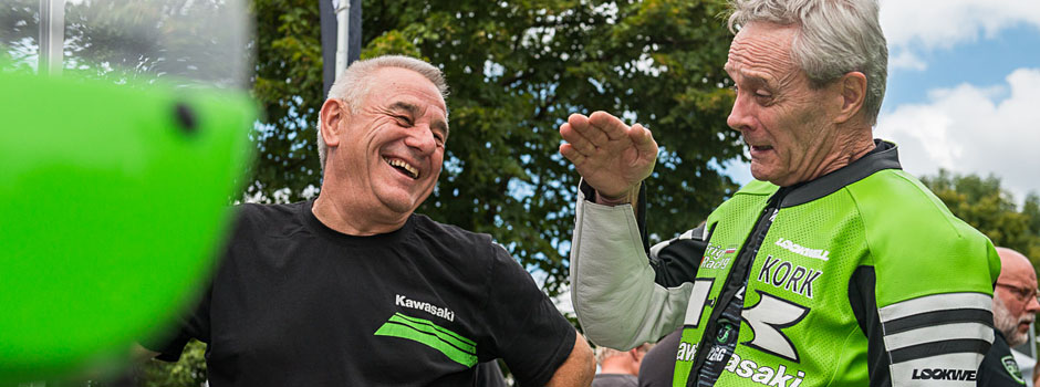 Toni Mang und Kork Ballington bei den Kawasaki Days 2015 in Schotten, Samstag 15. August 2015